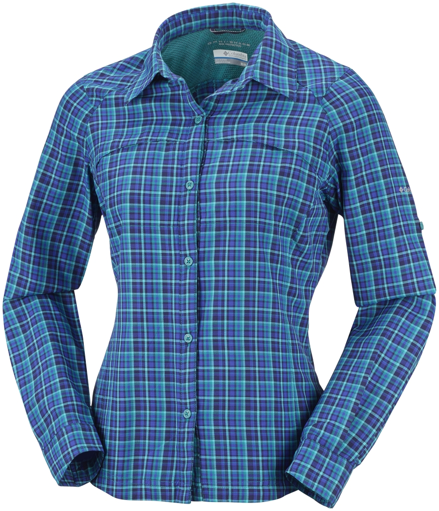 Columbia Women's Silver Ridge Plaid Long Sleeve Shirt Emerald Small Plaid-30