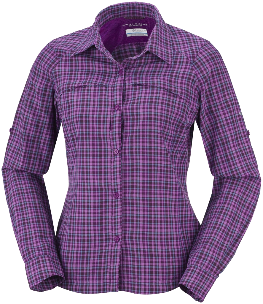 Columbia Women's Silver Ridge Plaid Long Sleeve Shirt Bright Plum Small Plaid-30