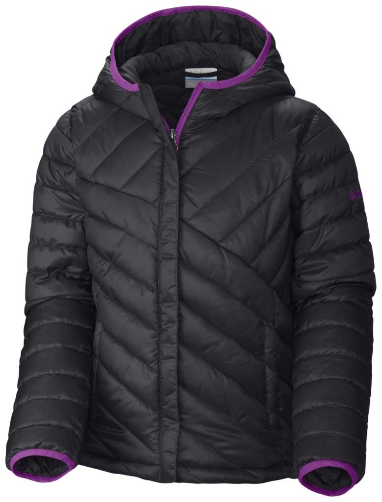 Columbia Girls' Powder Lite Puffer Black Bright Plum-30