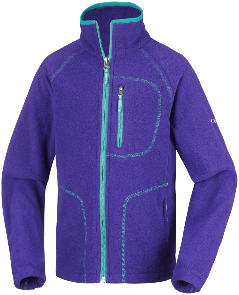 Columbia Youth Fast Trek II Full Zip Hyper Purple Mayan Green-30