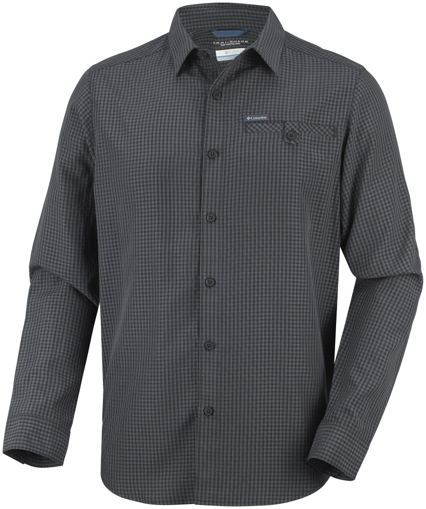 Columbia Men's Declination Trail II Long Sleeve Shirt Black Small Plaid-30