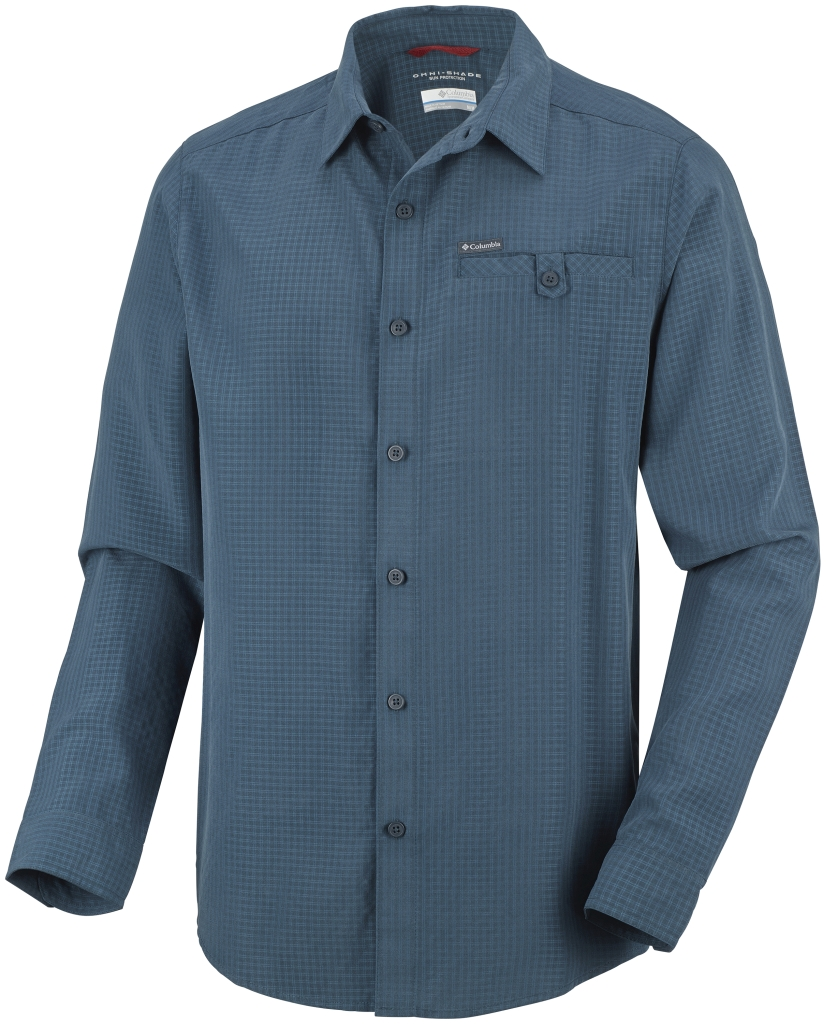 Columbia Men's Declination Trail II Long Sleeve Shirt Night Shadow Small Plaid-30