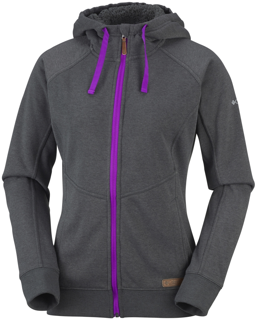 Columbia Women's Woodsy Waters Full Zip Hoodie Coal Heather Bright Plum-30