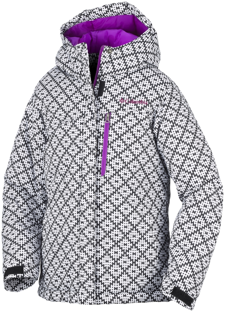 Columbia Girls' Alpine Free Fall Jacket Black Print Bright Plum-30