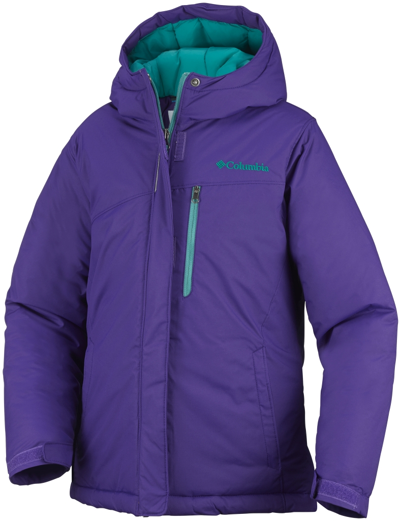 Columbia Girls' Alpine Free Fall Jacket Hyper Purple Mayan Green-30