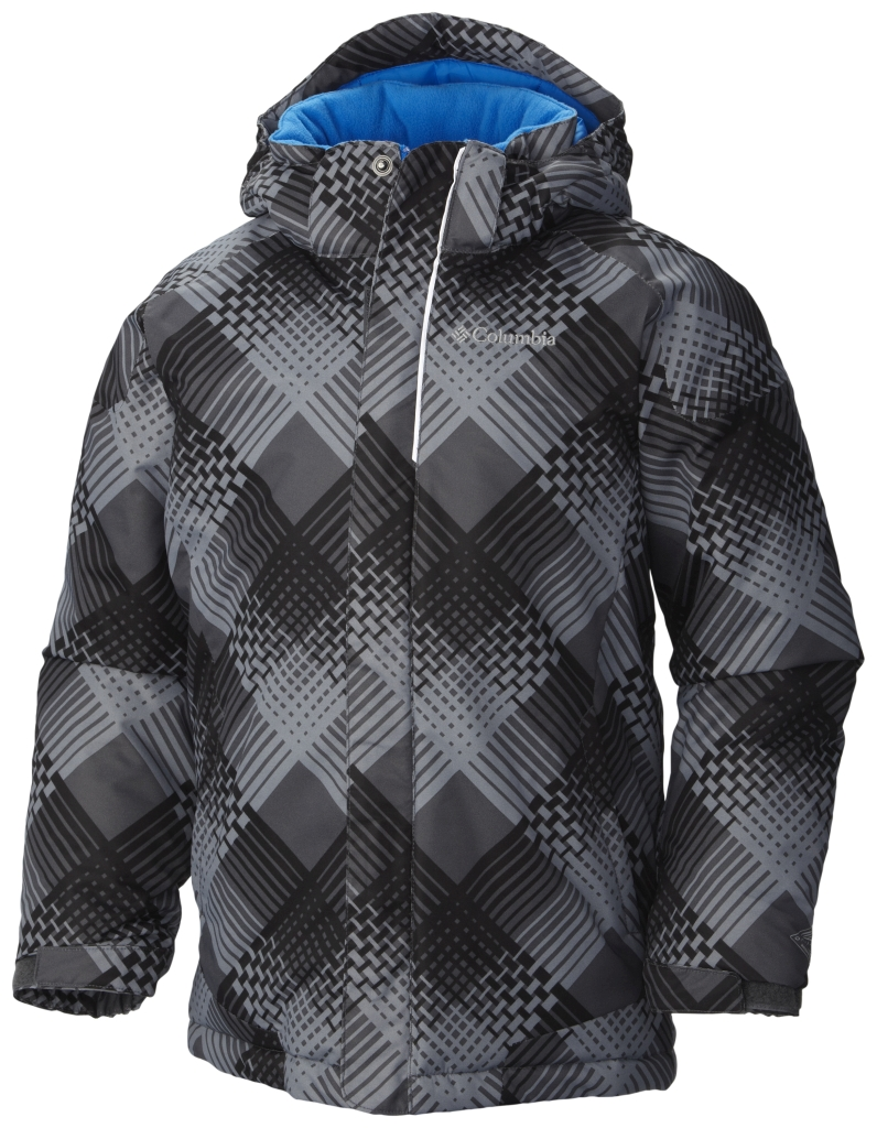 Columbia Boys' Twist Tip Jacket Black Plaid Hyper Blue-30