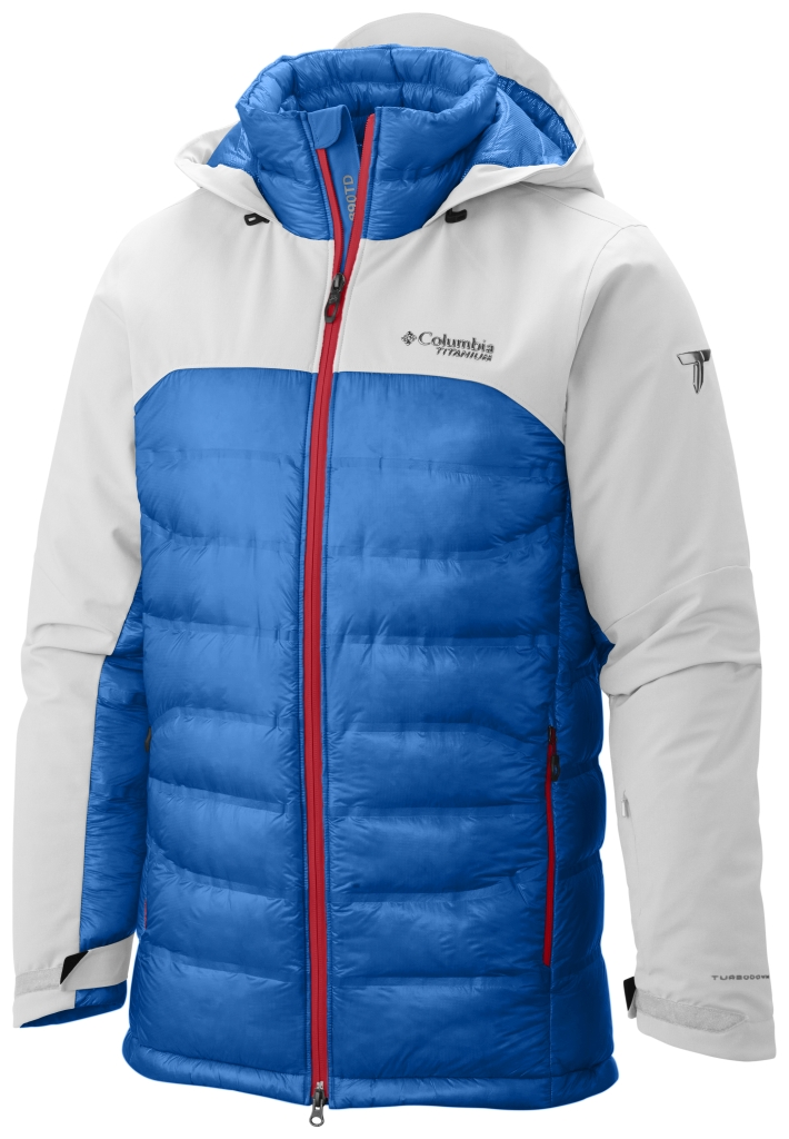 Columbia Men's Heatzone 1000 Turbodown Hooded Jacket White Hyper Blue-30