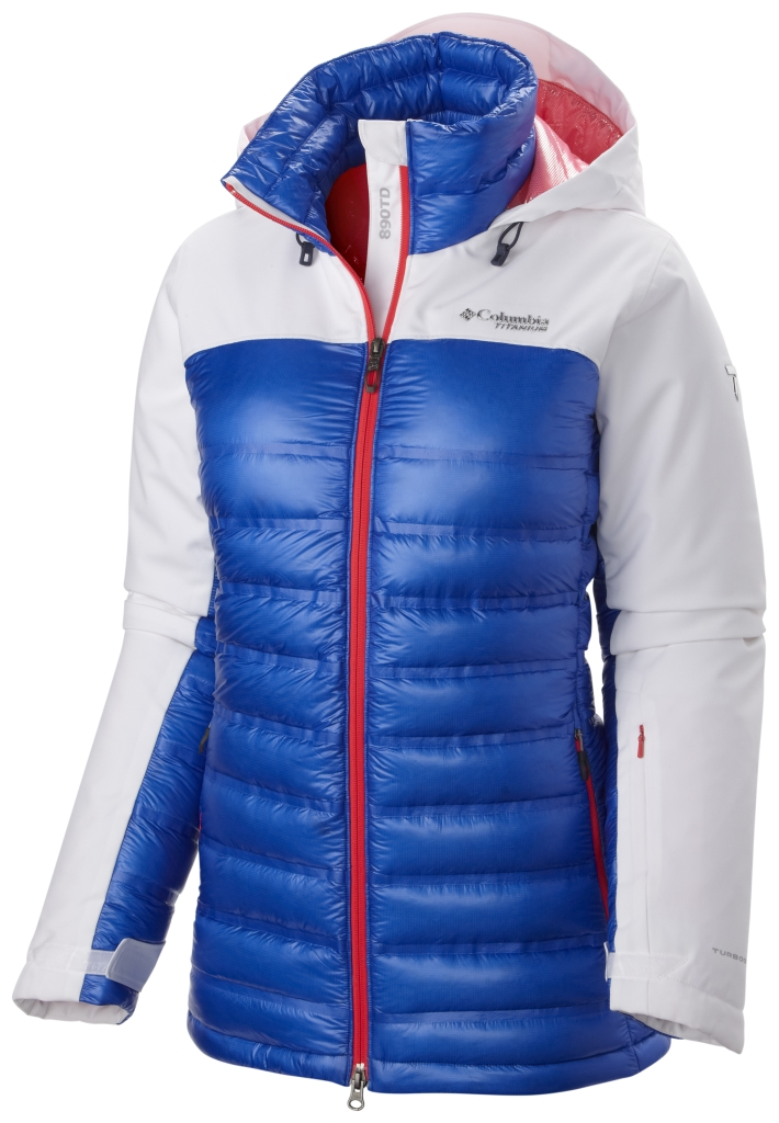 Columbia Women's Heatzone 1000 Turbodown Hooded Jacket White Blue Macaw-30