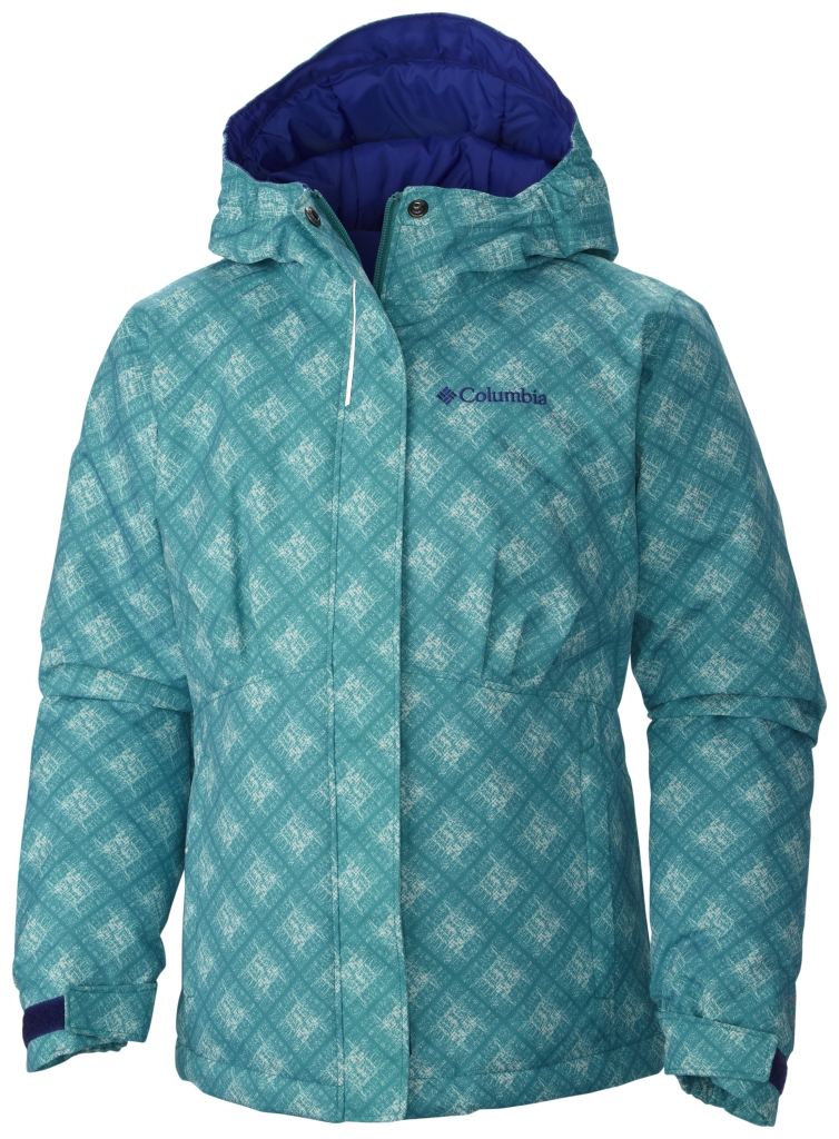 Columbia Girl's Flurry Flash Jacket Mayan Green Plaid-30