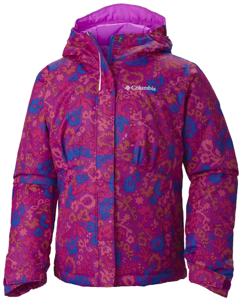 Columbia Girl's Flurry Flash Jacket Bright Plum Floral-30
