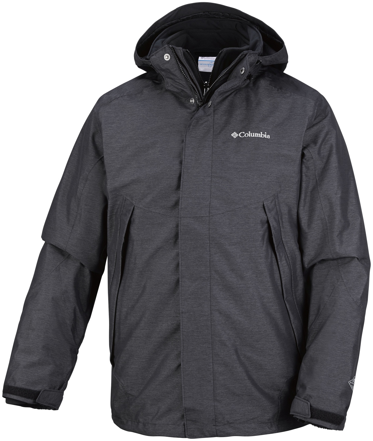 Columbia Men's Sestrieres Interchange Ski Jacket Black Crossdye, Black-30