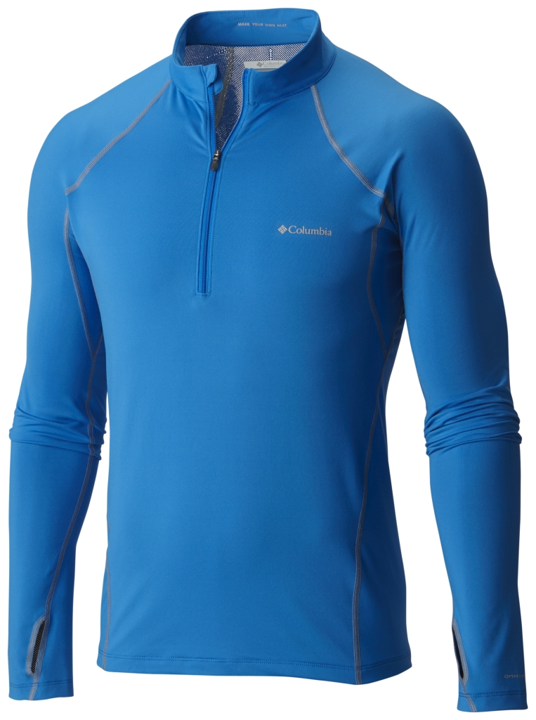 Columbia Men's Midweight Stretch Long Sleeve Baselayer Half Zip Shirt Hyper Blue-30