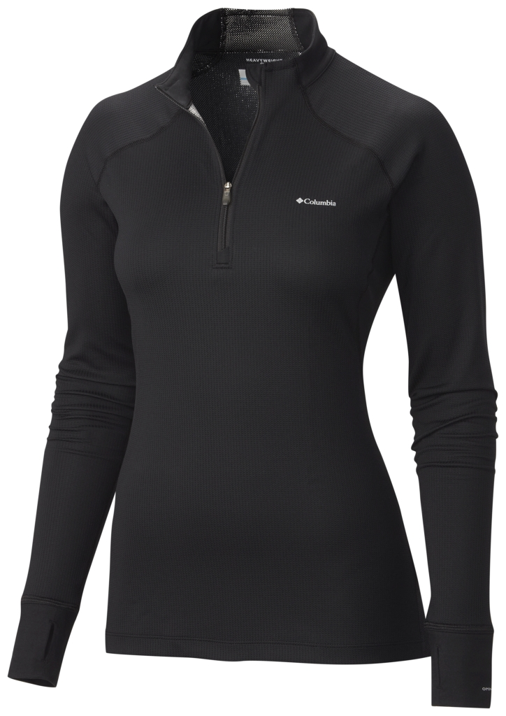 Columbia Women's Heavyweight II Baselayer Long Sleeve Half Zip Shirt Black-30