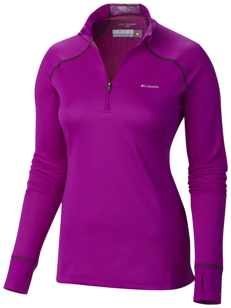 Columbia Women's Heavyweight II Baselayer Long Sleeve Half Zip Shirt Bright Plum-30