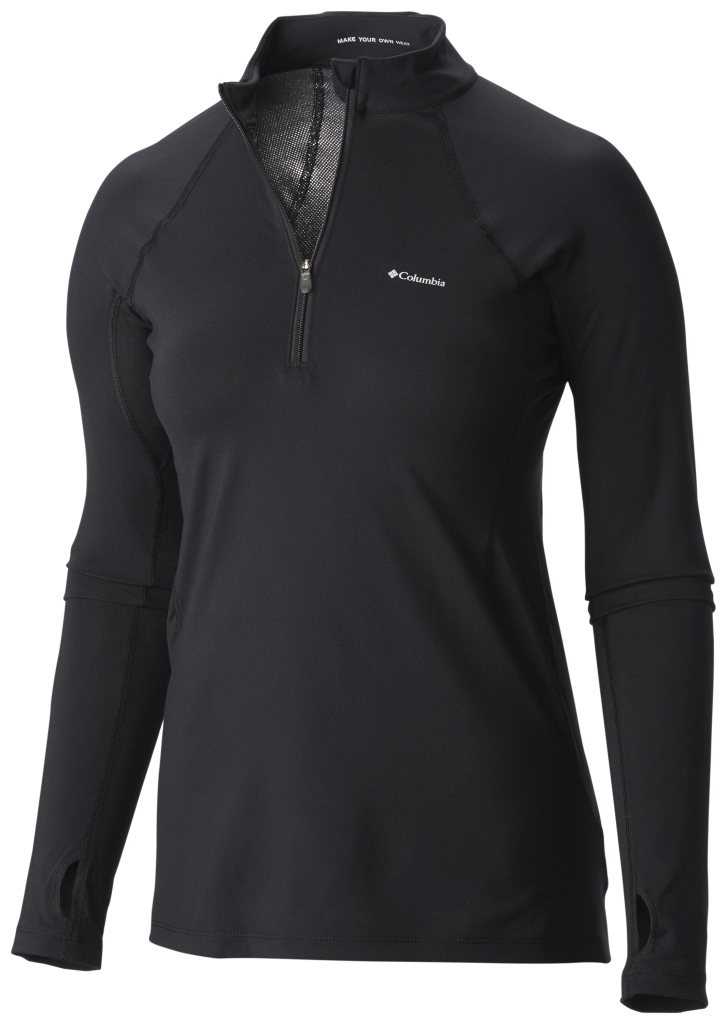 Columbia Women's Midweight Stretch Baselayer Long Sleeve Half Zip Shirt Black-30