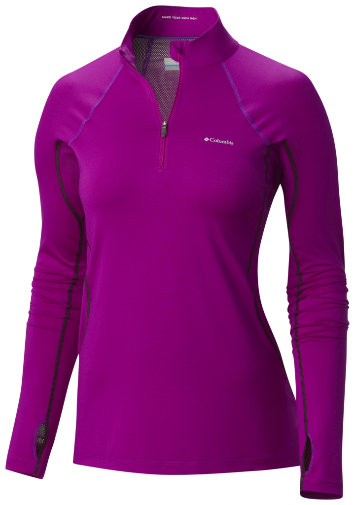 Columbia Women's Midweight Stretch Baselayer Long Sleeve Half Zip Shirt Bright Plum-30