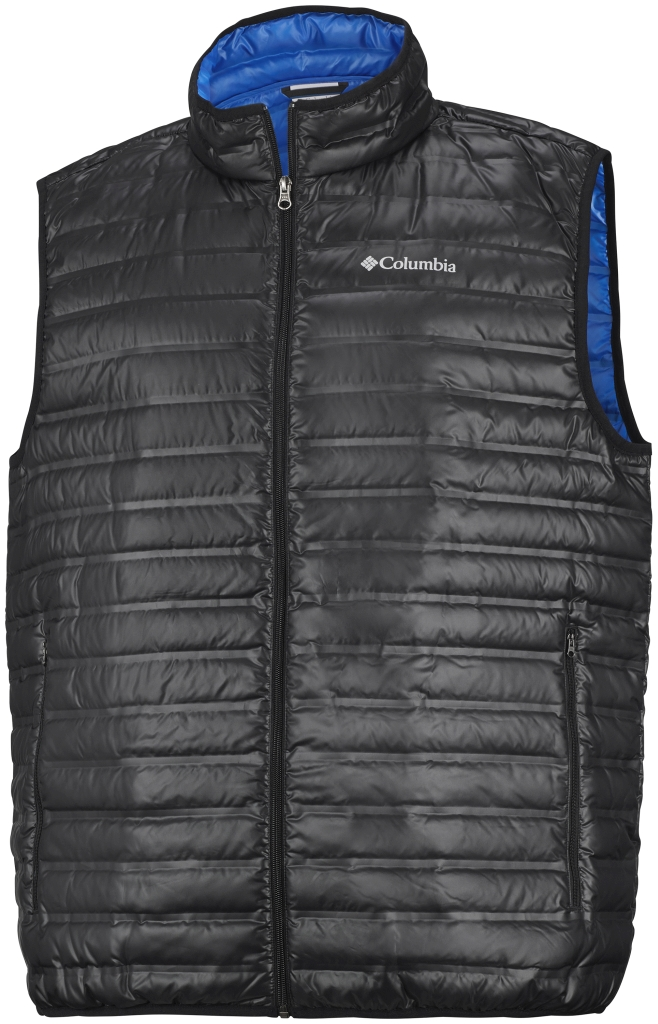 Columbia Men's Flash Forward Down Vest Black Hyper Blue-30