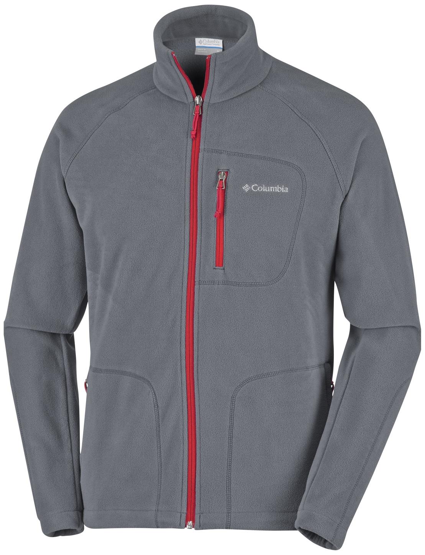 Columbia Men's Fast Trek II Full Zip Fleece Graphite, Mtn Red-30