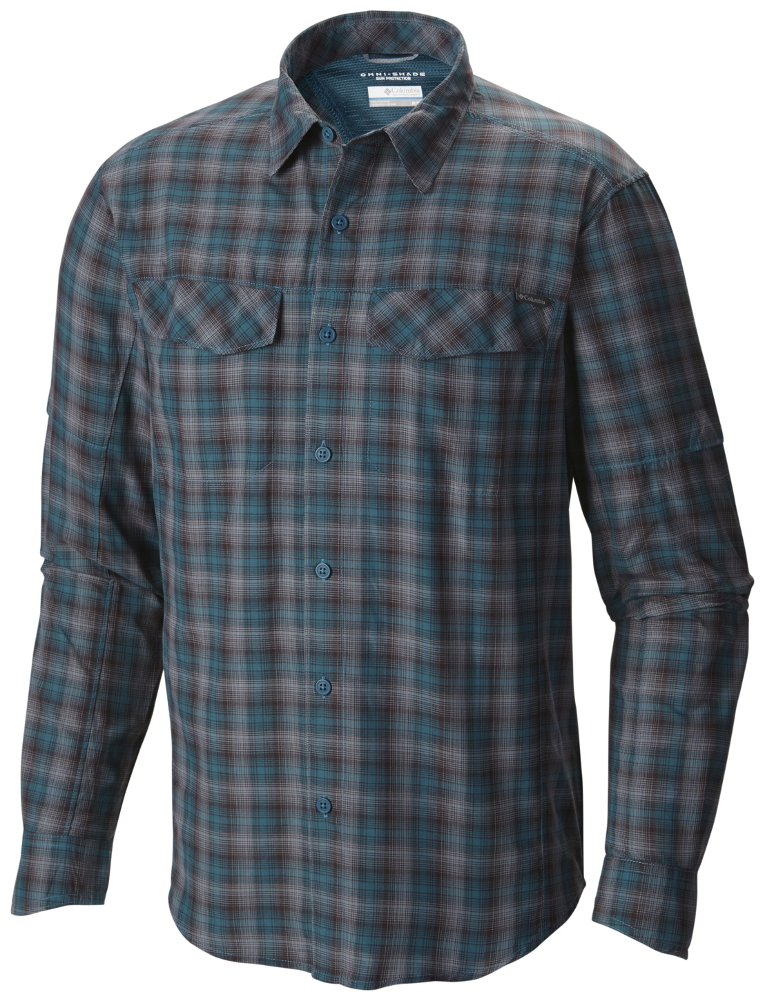 Columbia Men's Silver Ridge Plaid Long Sleeve Shirt Deep Water Ripstop-30