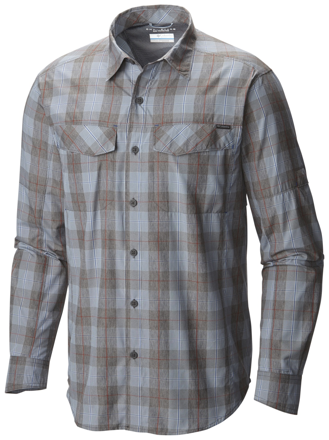 Columbia Men's Silver Ridge Plaid Long Sleeve Shirt Steel Heathered Plaid-30