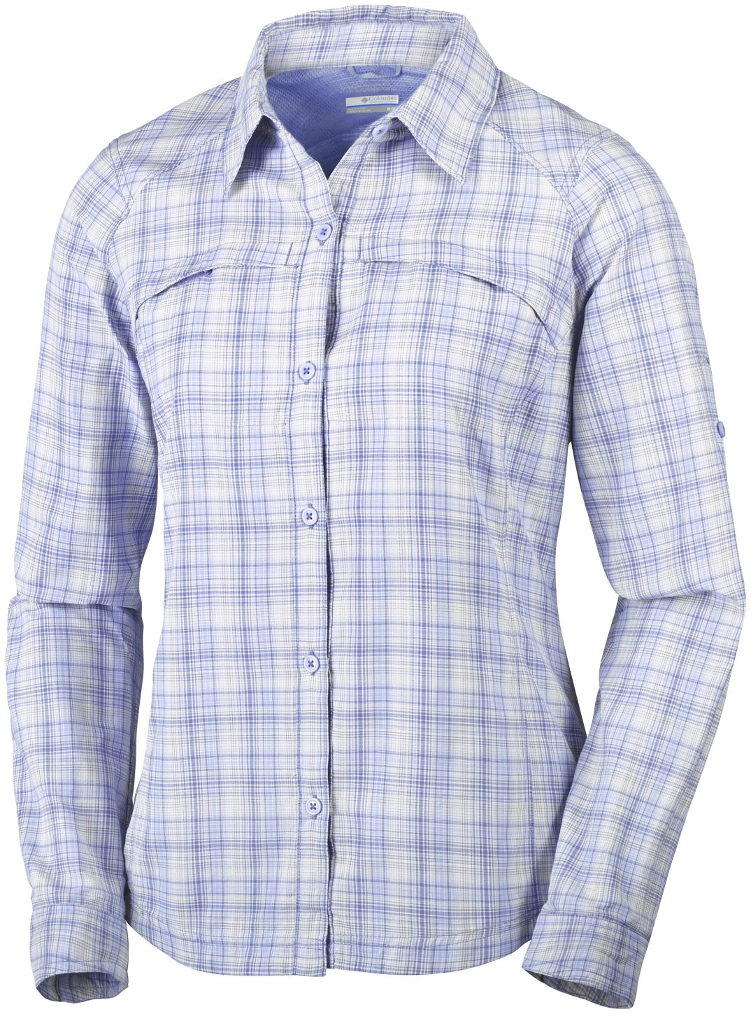 Columbia Women's Silver Ridge Plaid Long Sleeve Shirt Bluebell Ripstop-30
