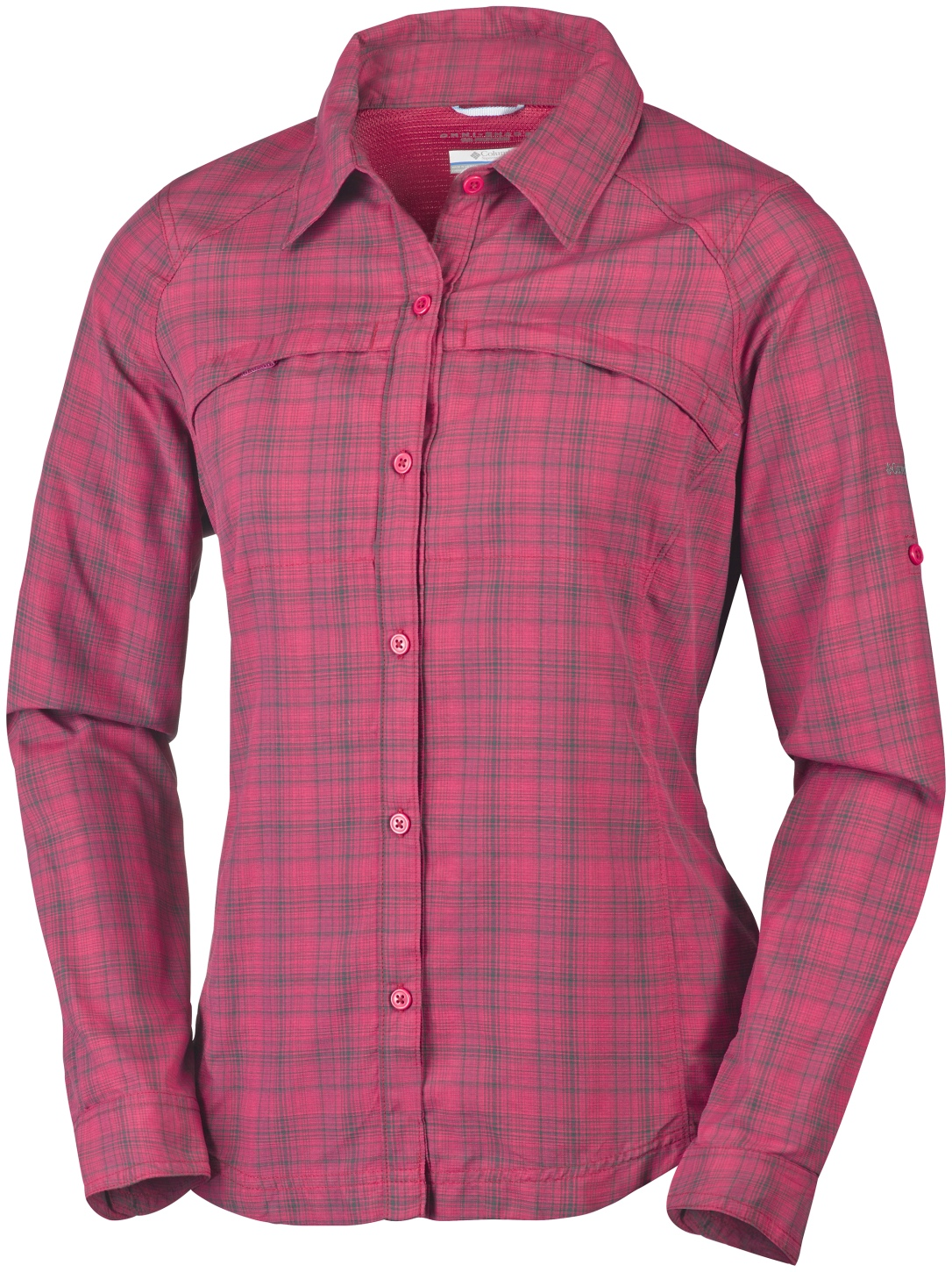 Columbia Women's Silver Ridge Plaid Long Sleeve Shirt Red Orchid Ripstop-30