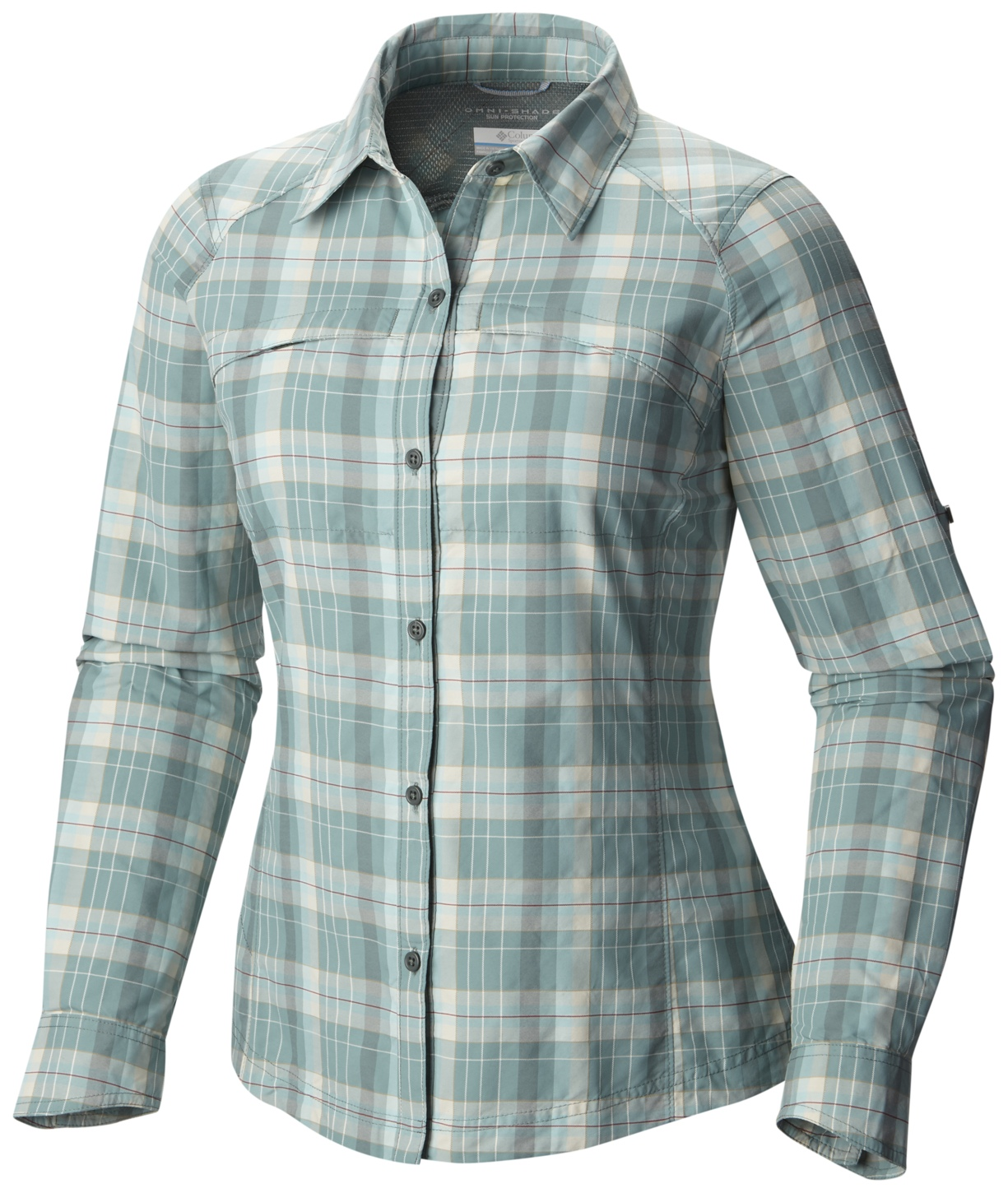 Columbia Women's Silver Ridge Plaid Long Sleeve Shirt Pond Mid Scale Dobby-30