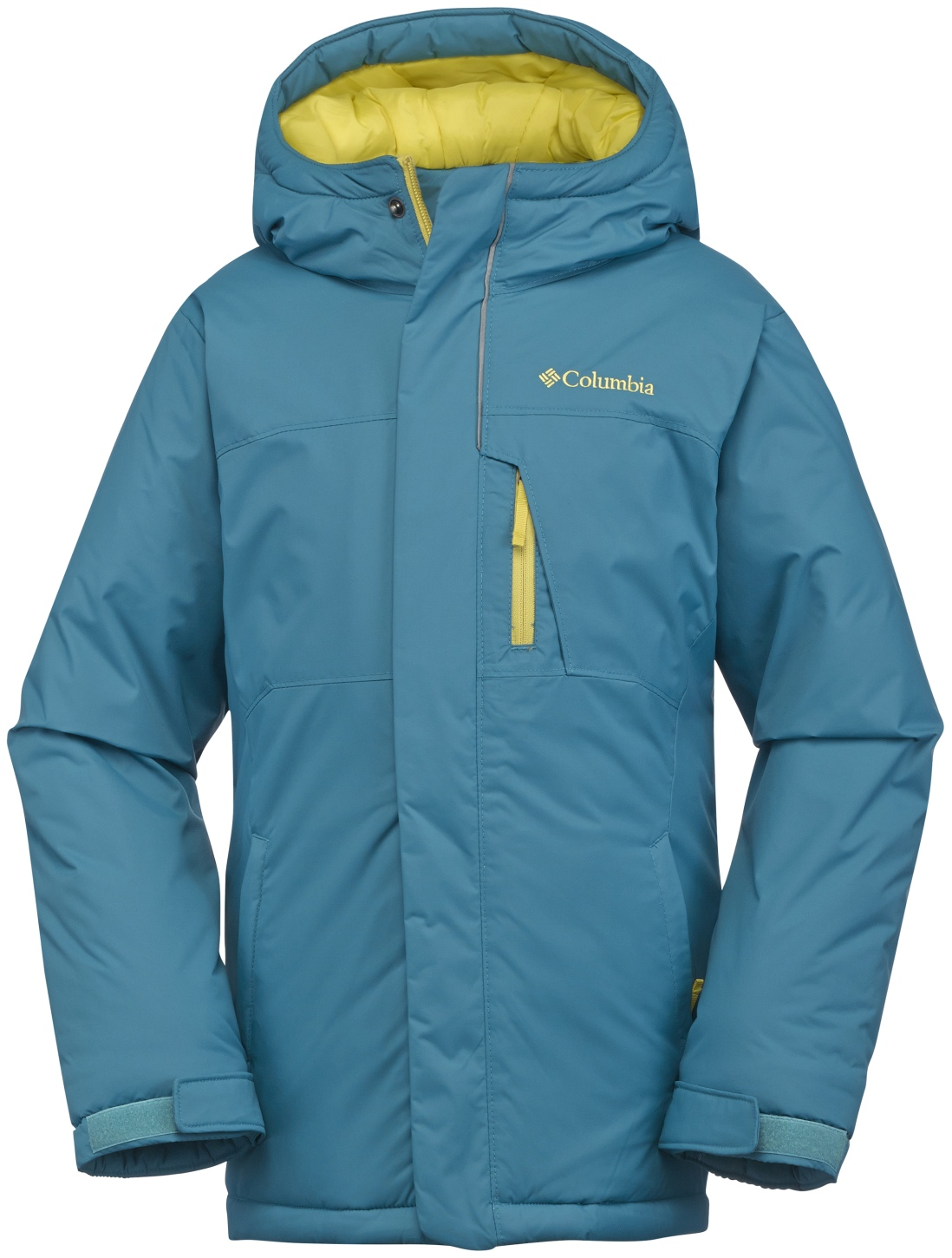 Columbia Boys' Alpine Free Fall Ski Jacket Deep Marine, Mineral Yellow-30