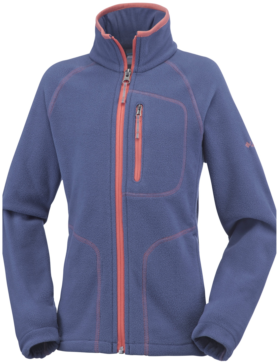 Columbia Boys' Fast Trek II Full Zip Fleece Bluebell, Hot Coral-30