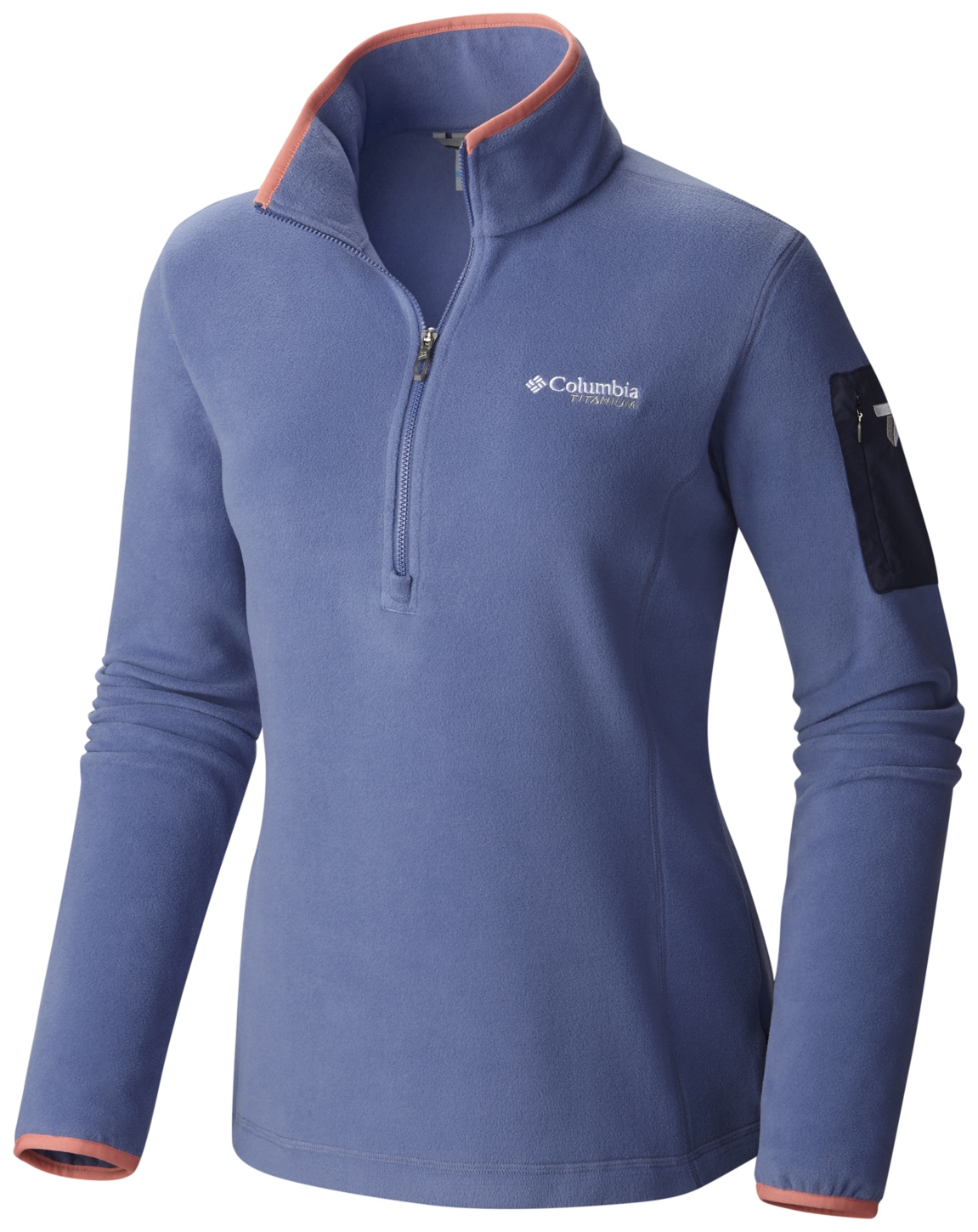 Columbia Women's Titan Pass 1.0 Half Zip Fleece Bluebell, Hot Coral-30