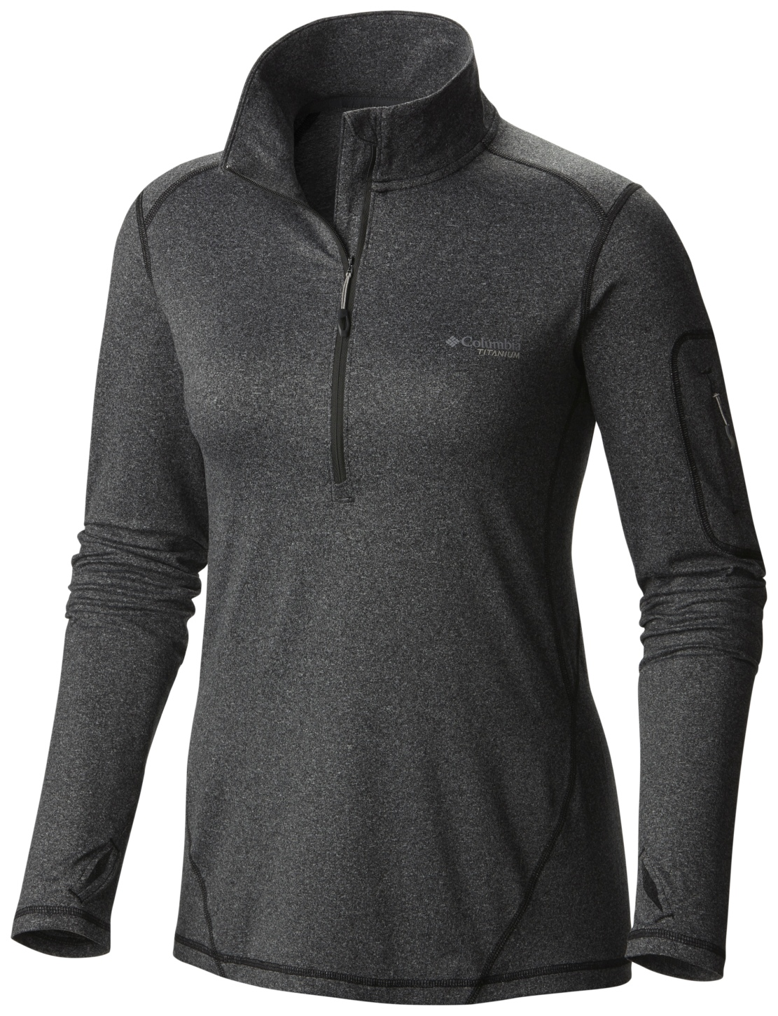 Columbia Women's Diamond Peak Half Zip Top Black Heather-30