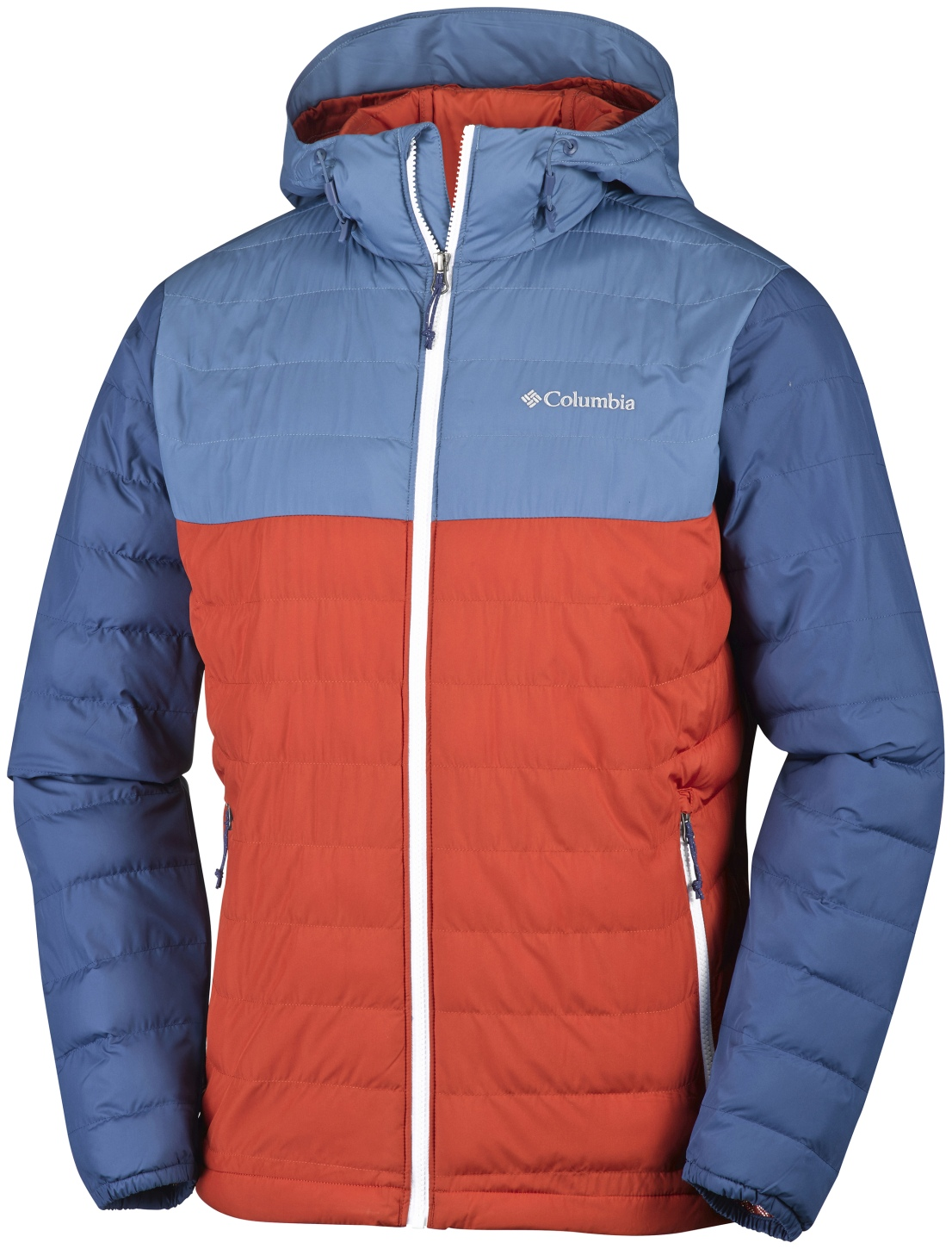 Columbia Men's Powder Lite Hooded Jacket Rust Red, Steel-30