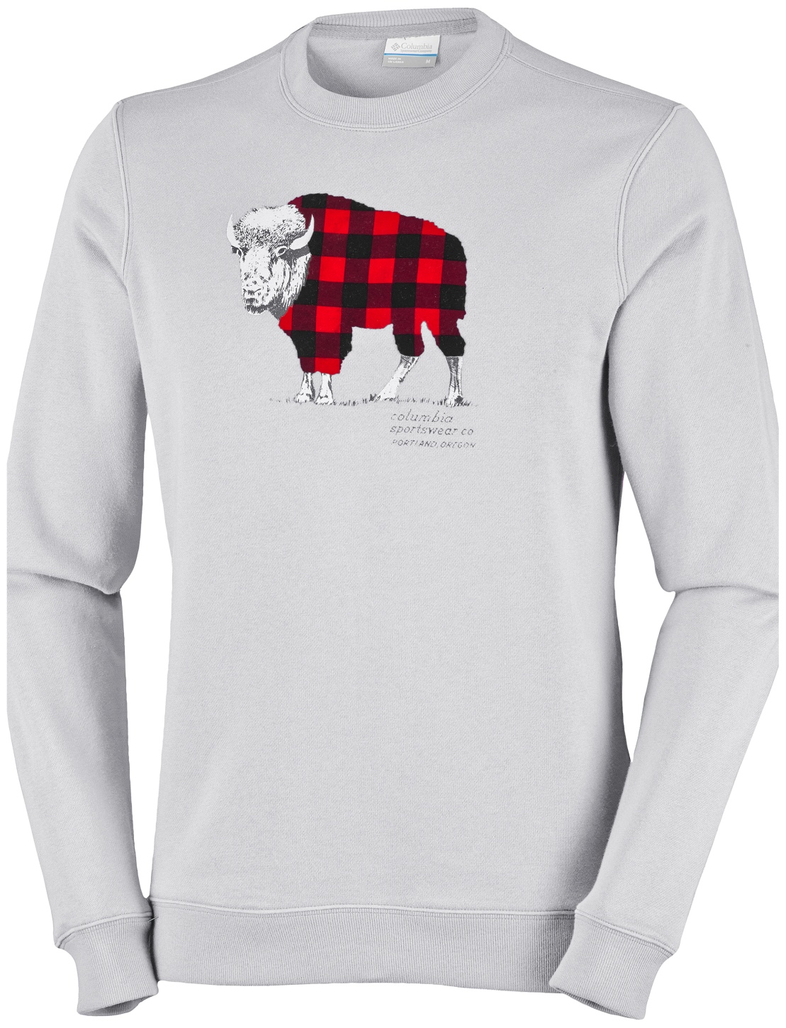 Columbia Men's CSC Check The Buffalo Crew Sweatshirt Grey Heather-30