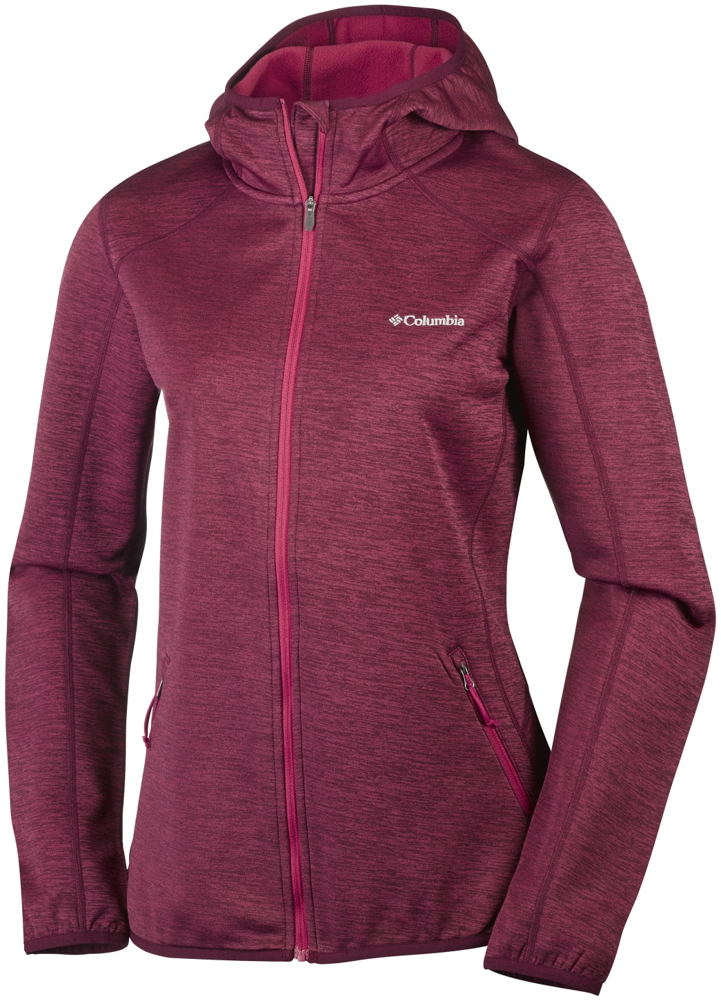 Columbia Women's Sapphire Trail Hooded Full Zip Fleece Red Orchid-30