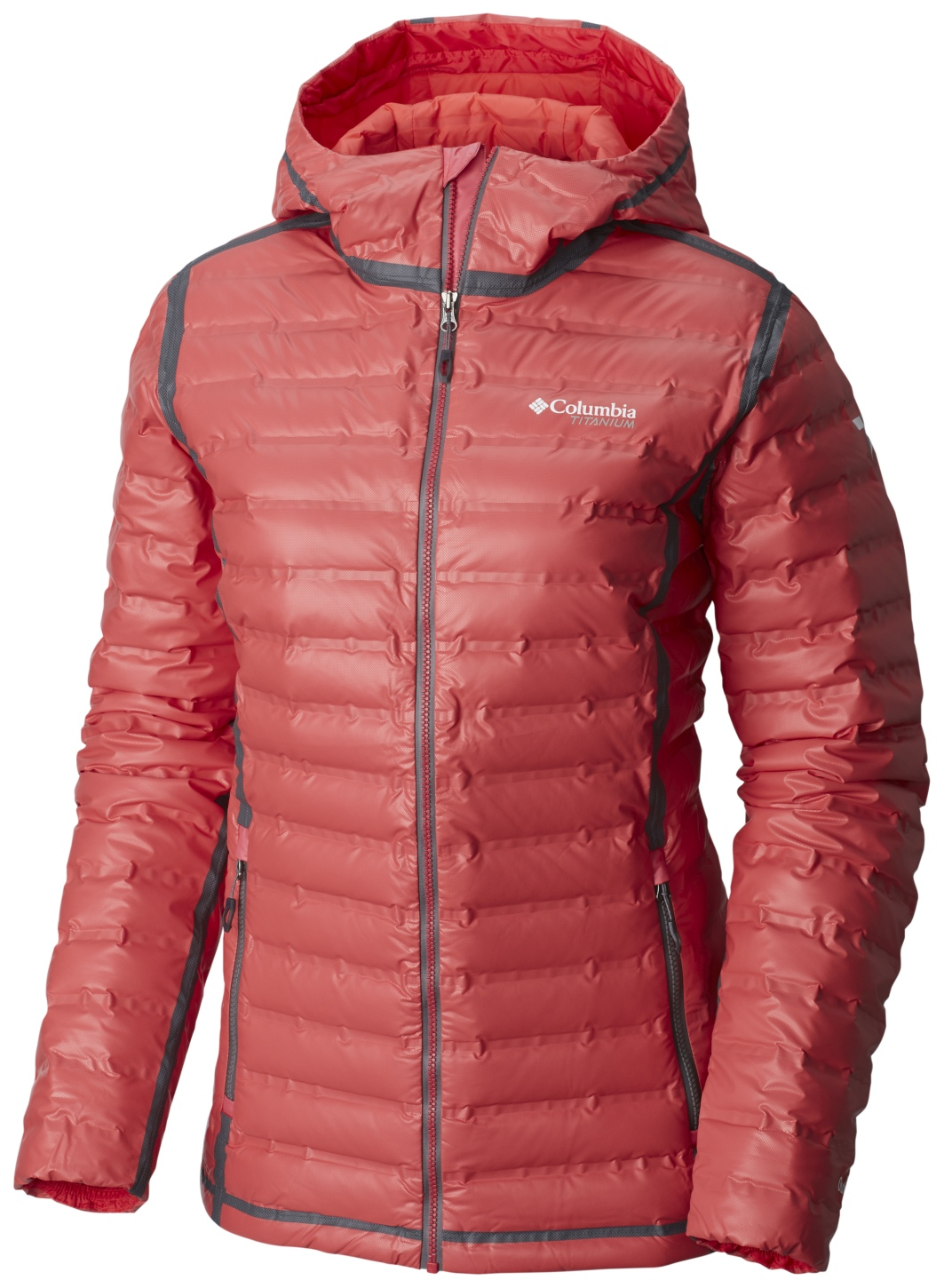 Columbia Women's OutDry Extreme Gold Down Hooded Jacket Red Camellia, Spray-30