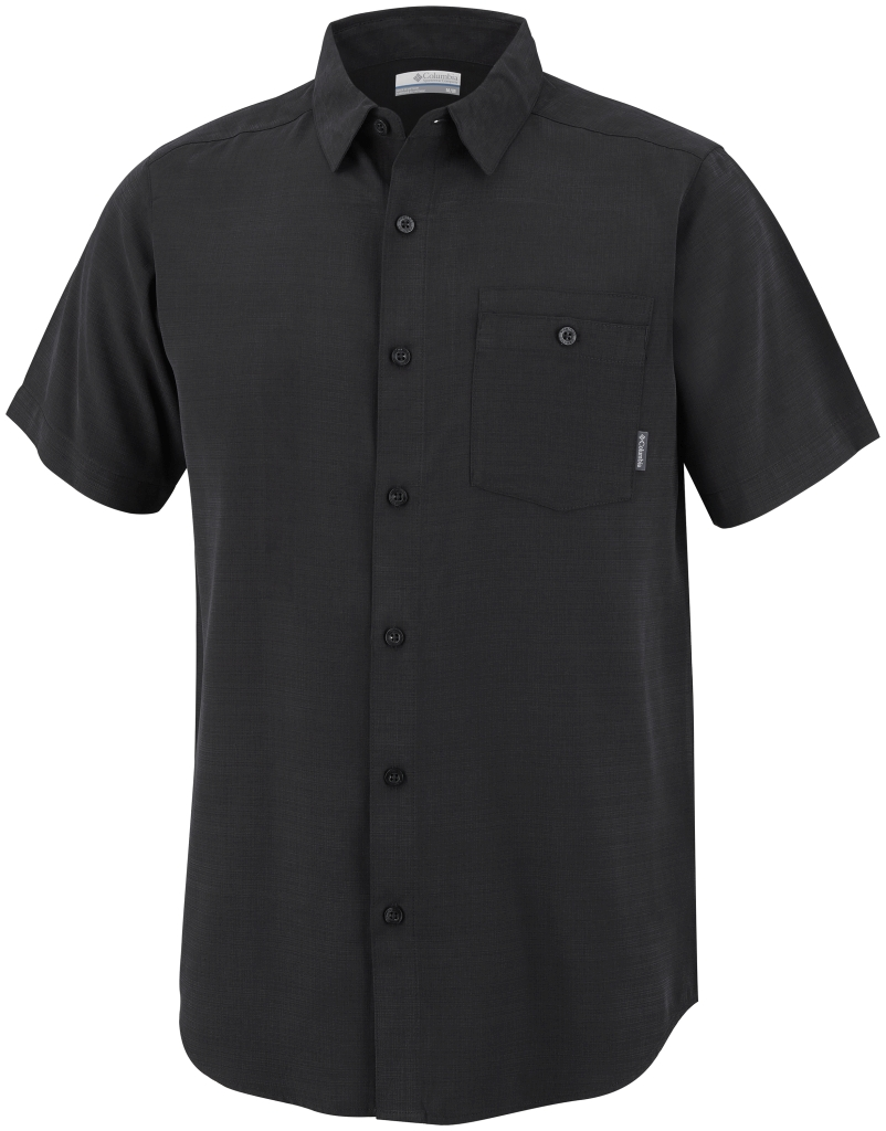 Columbia Mossy Trail Short Sleeve Shirt Black, Slub-30