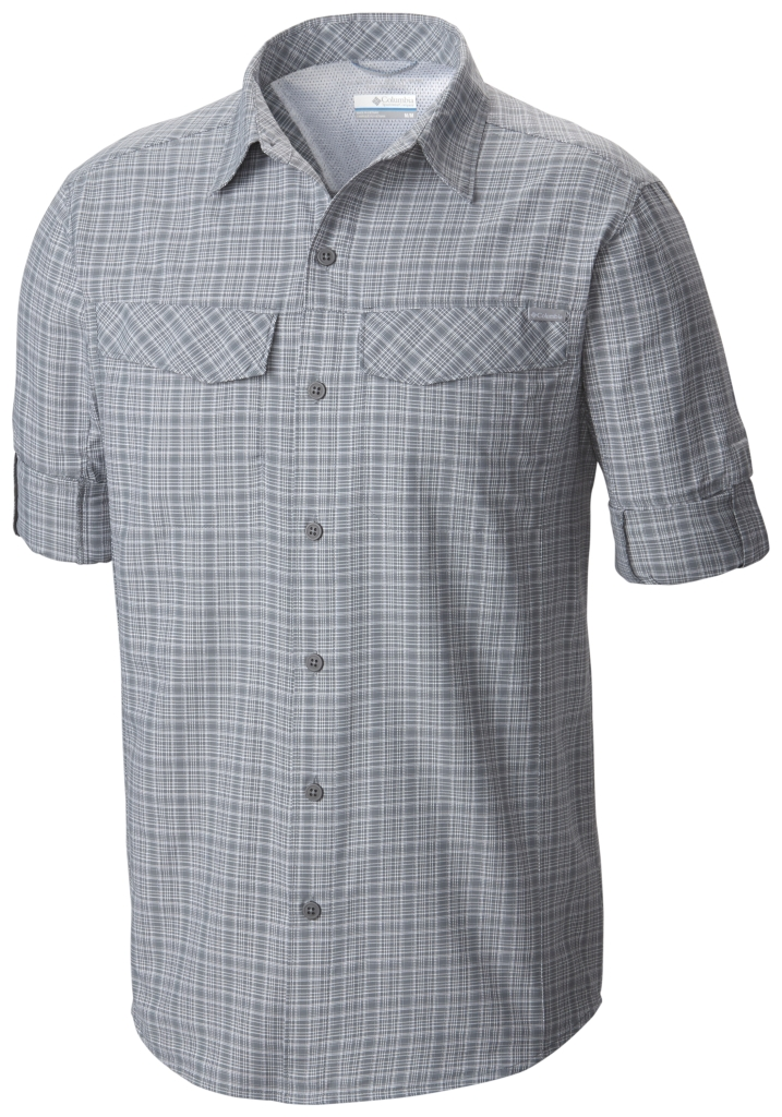 Columbia Silver Ridge Plaid Long Sleeve Shirt Grey Ash Dobby Plaid-30