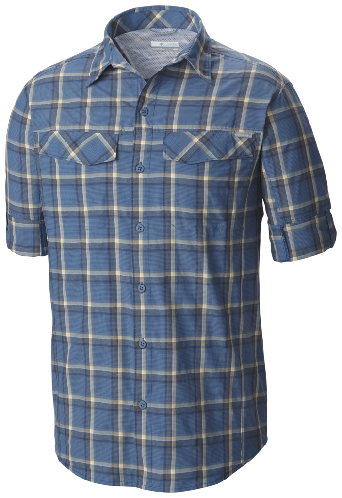 Columbia Silver Ridge Plaid Long Sleeve Shirt Marine Blue Heather Plaid-30
