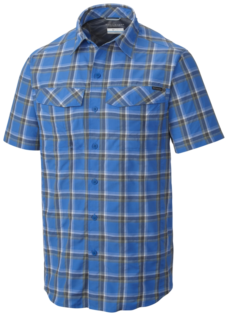Columbia Silver Ridge Multi Plaid S/S Shirt Super Blue Heather Plaid-30
