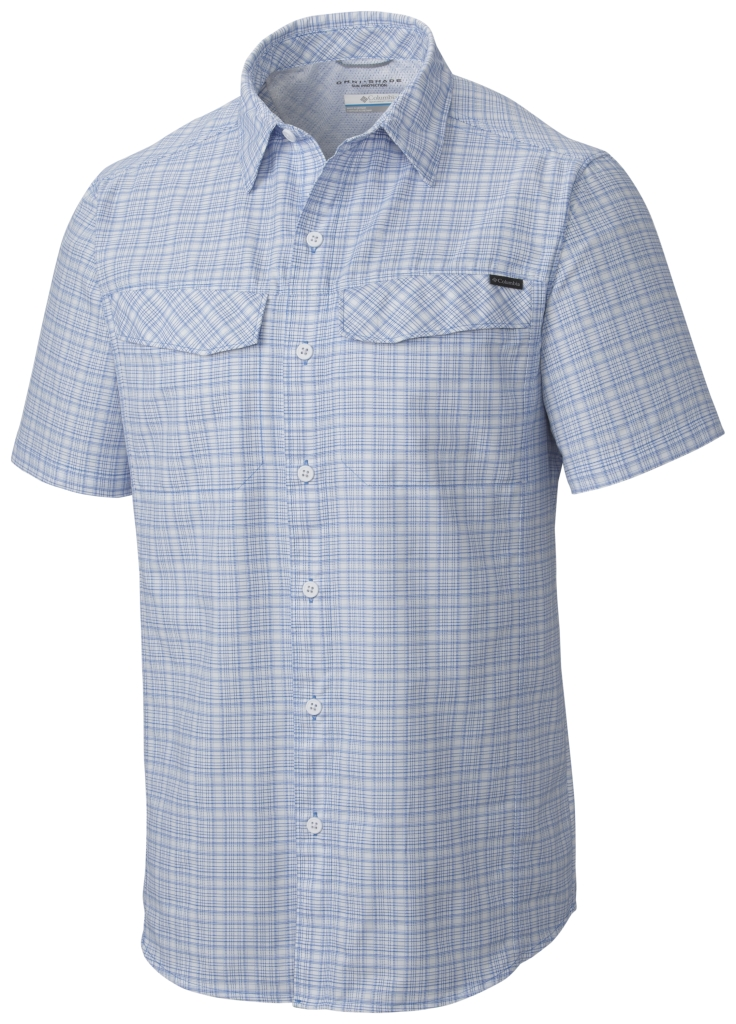 Columbia Silver Ridge Multi Plaid S/S Shirt Pacific Blue Dobby Plaid-30