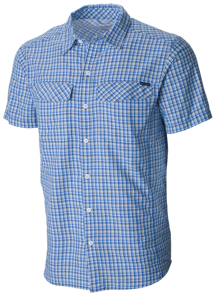 Columbia Silver Ridge Multi Plaid S/S Shirt Pacific Blue Ripstop Plaid-30