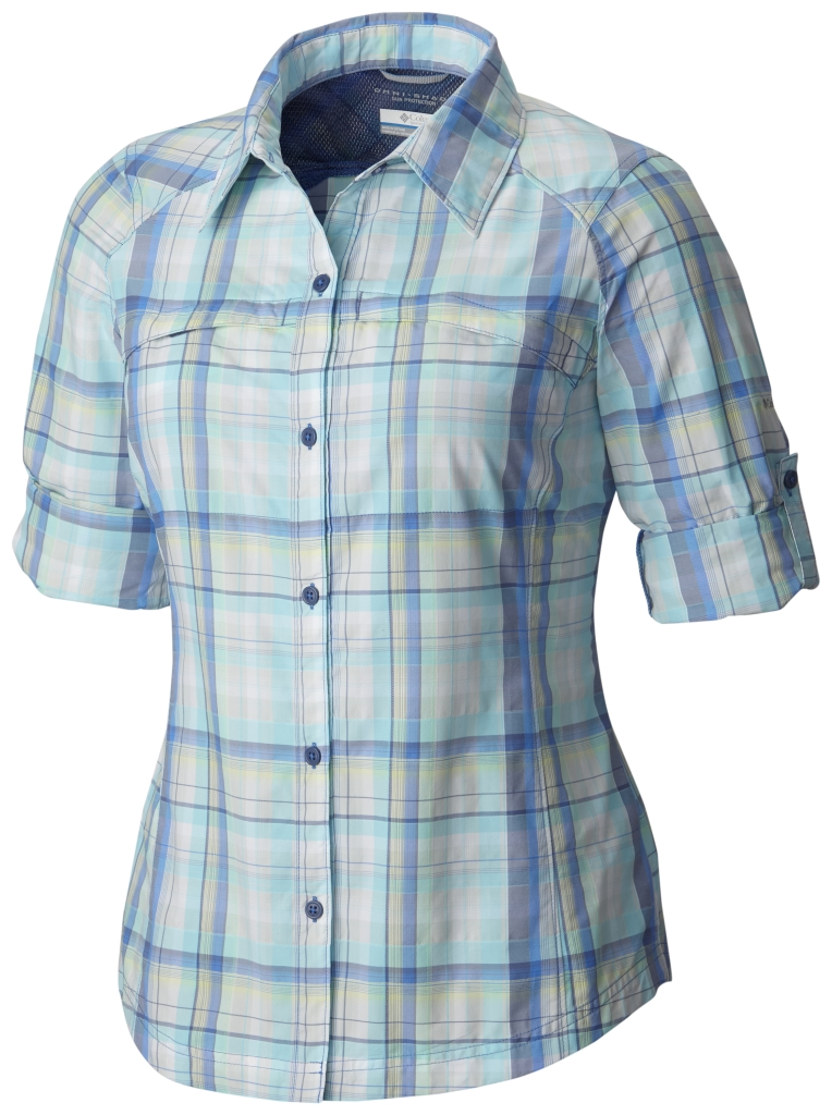 Columbia Silver Ridge Plaid Long Sleeve Shirt Stormy Blue Dobby Plaid-30