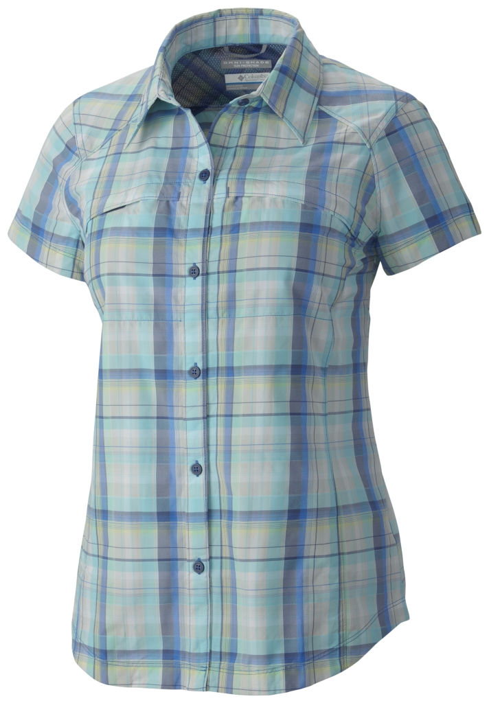 Columbia Silver Ridge Multi Plaid S/S Shirt Stormy Blue Dobby Plaid-30