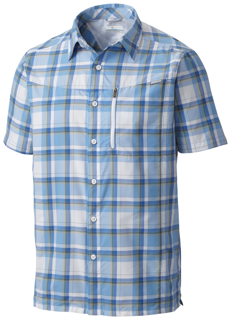 Columbia Silver Ridge Plaid Short Sleeve Shirt Super Blue Plaid-30