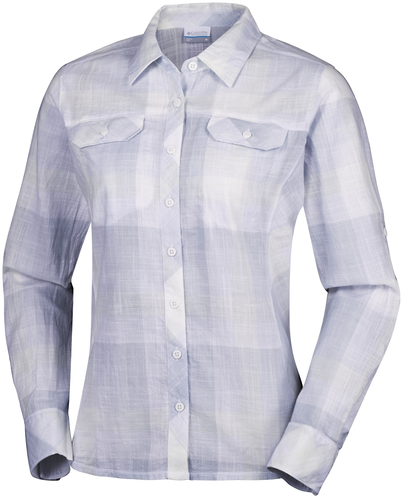 Columbia Camp Henry Long Sleeve Shirt Cirrus Grey Large Plaid-30