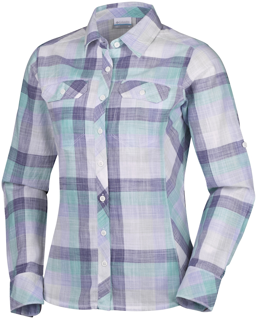 Columbia Camp Henry Long Sleeve Shirt Pale Purple Large Plaid-30