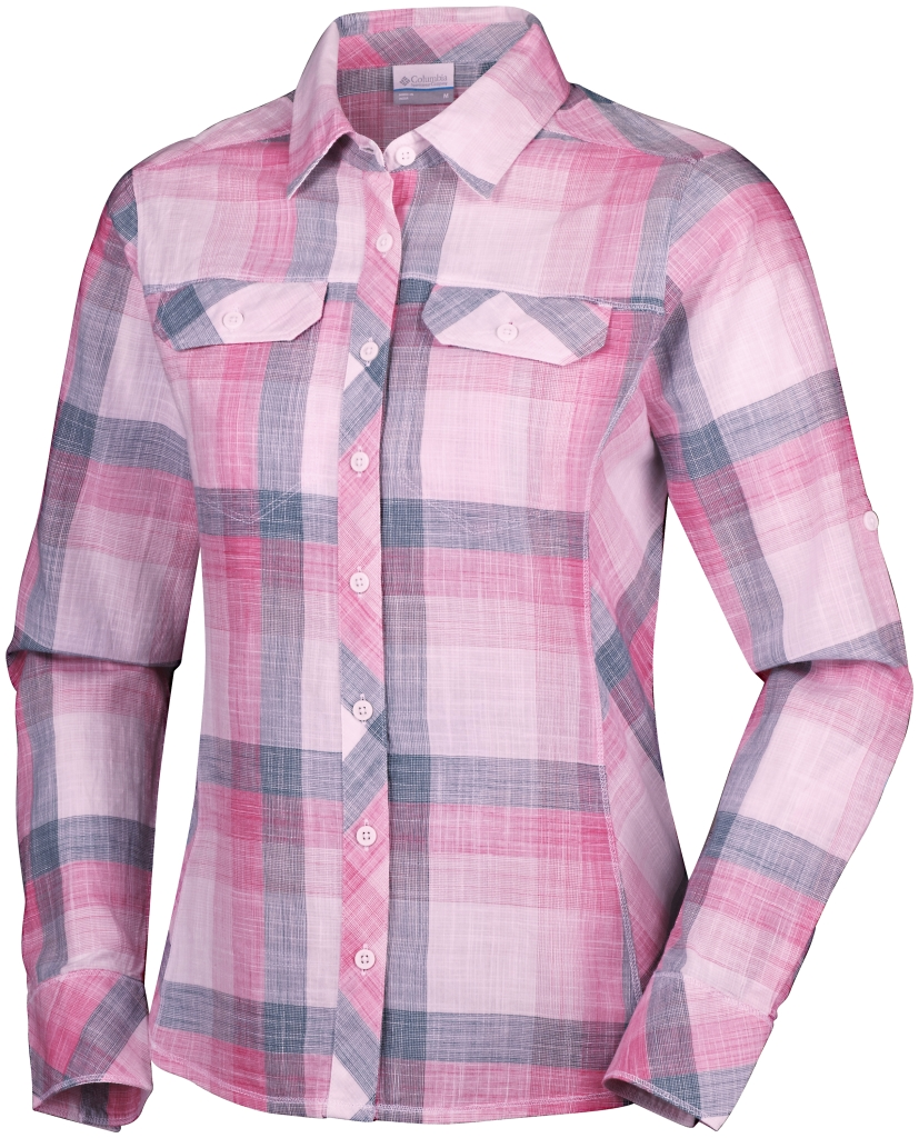 Columbia Camp Henry Long Sleeve Shirt Haute Pink Large Plaid-30