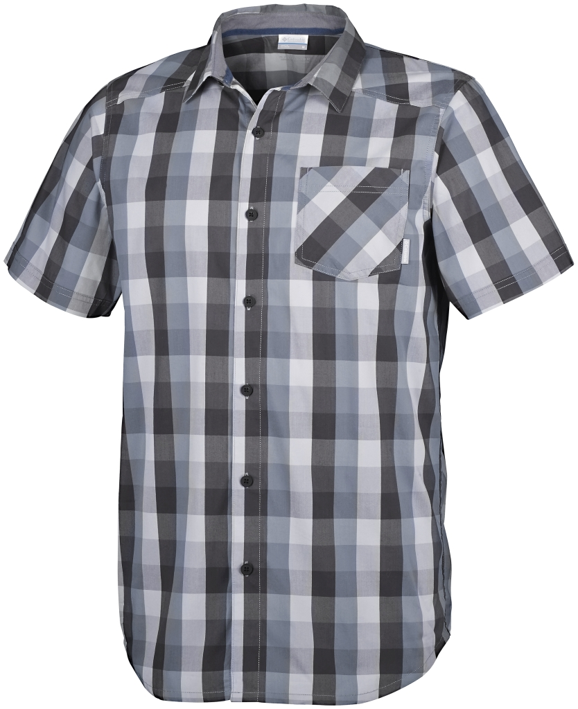 Columbia Decoy Rock II Short Sleeve Shirt Shark Plaid-30