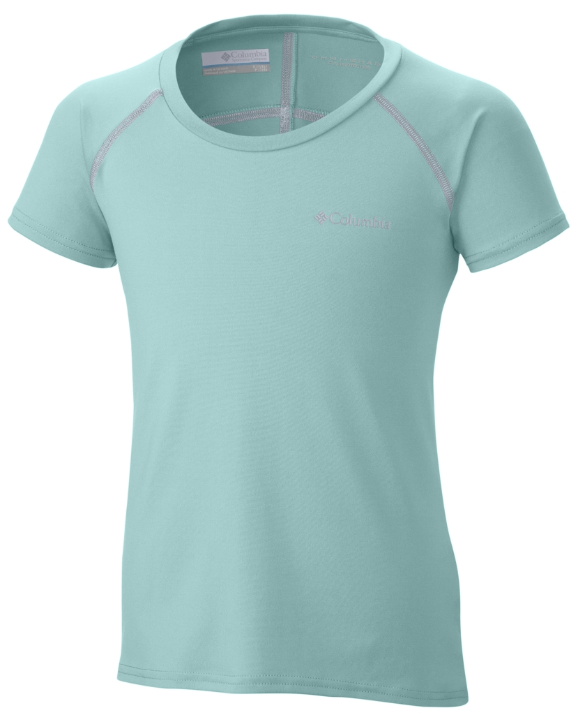 Columbia Girl's Silver Ridge Short Sleeve Tee Ocean Water, Cirrus Grey-30