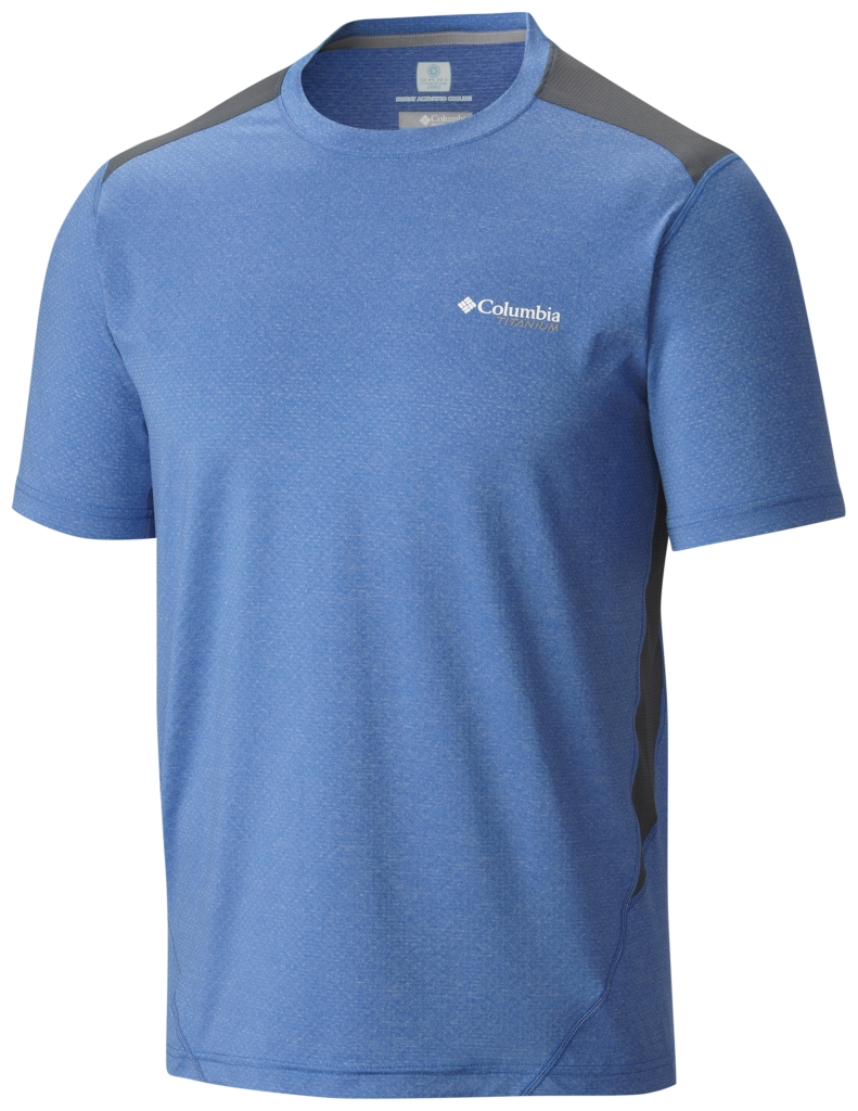 Columbia Titan Ice Mens Short Sleeve Shirt Super Blue Heather-30